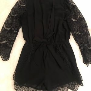 Black Romper with Lace Sleeves and Trim